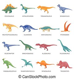 Dinosaurs Colored Isolated Icons Set - Colored isolated...
