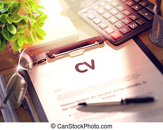 CV on Clipboard Composition on Working Table and Office...