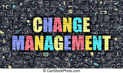 Change Management on Dark Brick Wall - Multicolor Concept -...