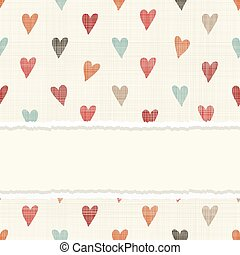 vintage card with colorful hearts on retro seamless background