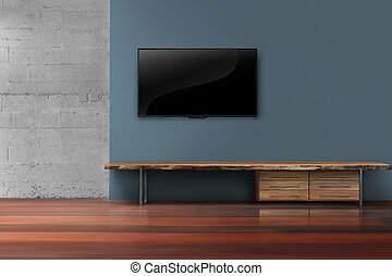 Led tv on dark blue wall with media furniture in empty living room