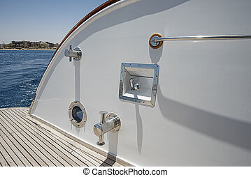 Stern deck of a large luxury motor yacht - Stern decking on...
