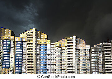 Thunderstorm in a city - Apartment building under the heavy...