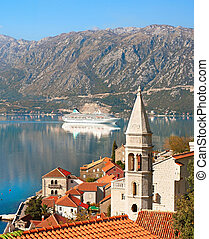 Perast harbor, Montenegro - View on Perast town with Church...