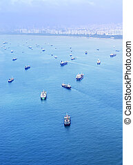 Singapore shipping industry - Aeril view of the cargo ships...