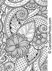 Seamless pattern with flowers and butterfly. Ornate...