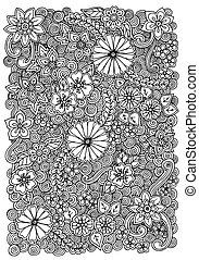 Pattern with flowers. Ornate zentangle texture, pattern with...