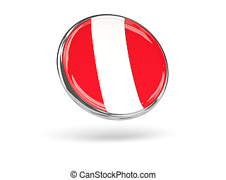 Flag of peru. Round icon with metal frame, 3D illustration