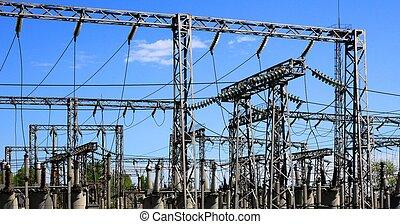 eléctrico, potencia, estación