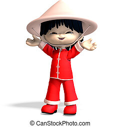 little cartoon china boy is so cute and funny. 3D rendering...