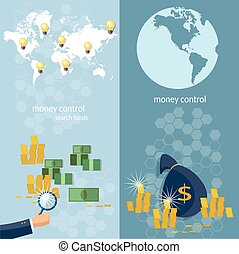 Global monetary system banking money transfer world map transactions online payments banking business finance startup vector banners