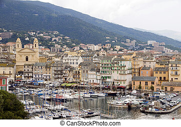 the old port of Bastia Corsica France with St. John the...