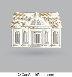Vector illustration with isolated fascade old house on grey...