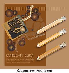 Vector illustration of garden plan with tree symbols, pencils.