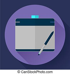 Graphic tablet icon CG artist and Designer symbol Flat...