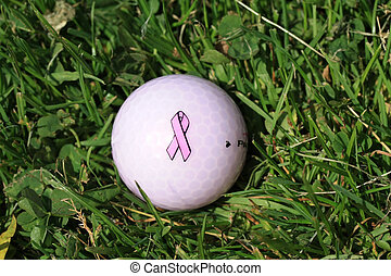 pink ribbon breast cancer awareness golfball - Golfball with...