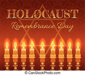 Holocaust remembrance day background. Candles, David star...