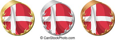 Medals Denmark - A gold, silver and bronze medal with the...