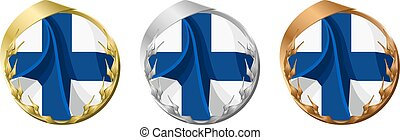 Medals Finland - A gold, silver and bronze medal with the...