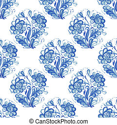 Seamless pattern with Russian ornament Gzel - Russian...
