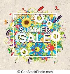 Summer sale design, floral frame on cardboard paper