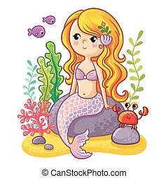 Cute cartoon mermaid sitting on a rock.