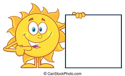 Sun Pointing To A Blank Sign