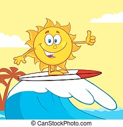 Surfer Sun Character Riding A Wave