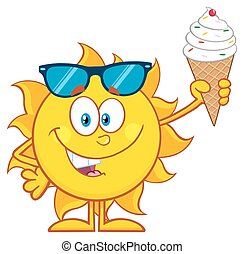 Cute Sun Holding A Ice Cream