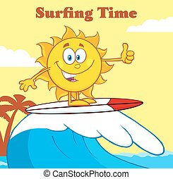 Surfer Sun And Text Surfing Time