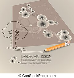 Silhouette tree, garden plan, pencil and words Landscape design.
