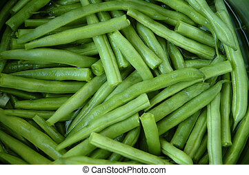 Close-up of cut string beans.