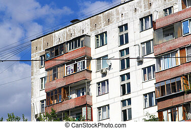 industrialized apartment block in russia The scene was...