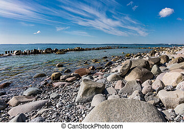 Baltic Sea coast on the island Ruegen in Germany.