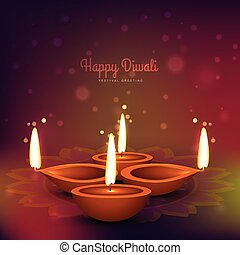 diwali diya place on colorful background vector design