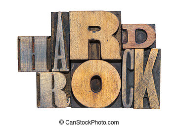 hard rock isol - hard rock phrase made from mixed wooden...