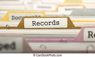 Records Concept on File Label. - Records Concept on File...