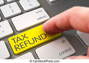 Hand Touching Tax Refund Key - Hand using Laptop Keyboard...