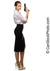 從事工商業的女性, 年輕, 槍