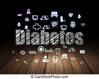Healthcare concept: Diabetes in grunge dark room