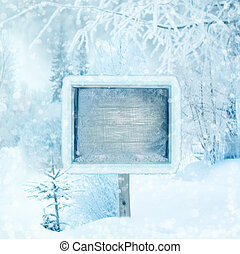 madeira, floresta, Inverno, sinal