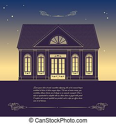 Vector retro illustration with old house, floral decorative...