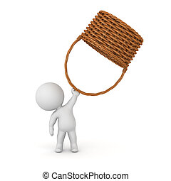 3D Character Holding Up Wicker Basket - 3D character holding...
