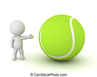 3D Character Showing Tennis Ball