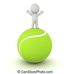 3D Character Standing on Large Tennis Ball - 3D character...