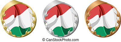 Medals Hungary - A gold, silver and bronze medal with the...