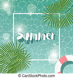 Swimming pool, top view, typographic hello summer message, summer time holiday vacation