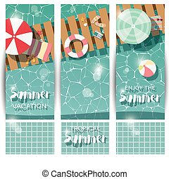 Three vertical banners with swimming pool, top view, tropical summer time holiday vacation