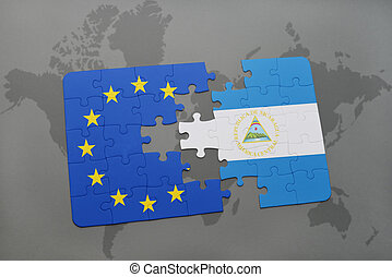 puzzle with the national flag of nicaragua and european union on a world map