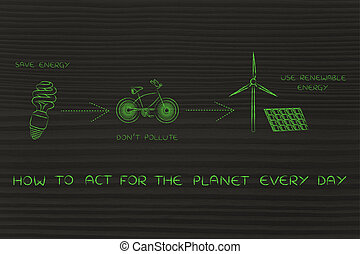 ecology icons about renewable energy, act for the planet